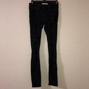 LEVI'S 711 Skinny Distressed Black Jeans 25